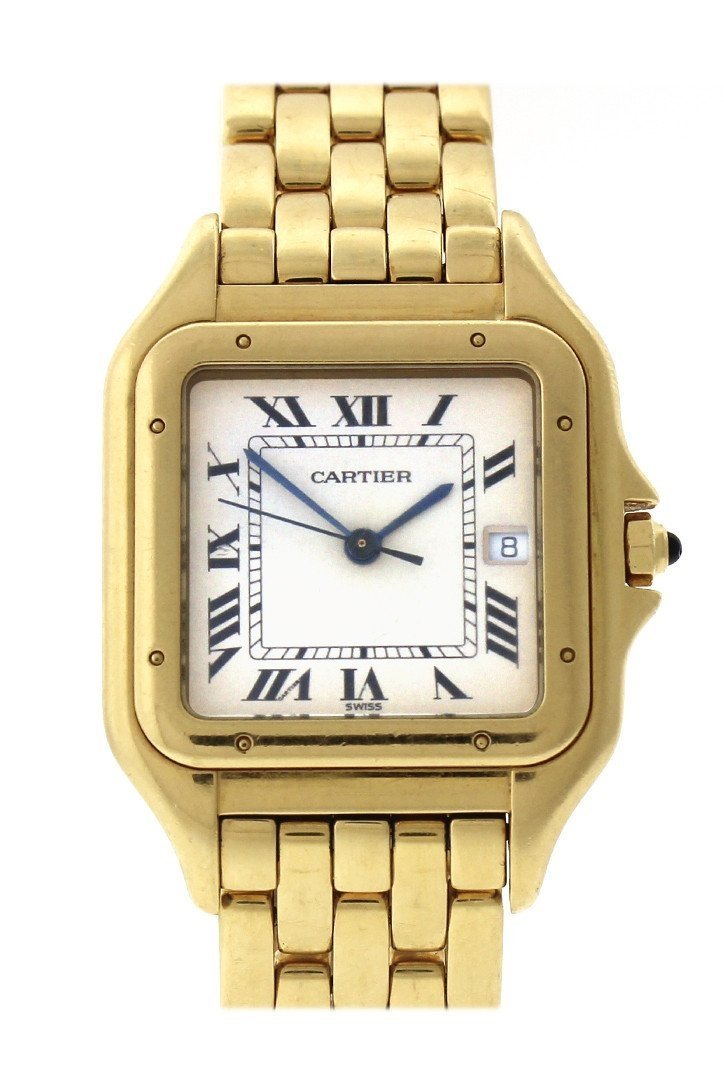 Cartier Panthère De Date Xl 18-Karat Yellow Gold Diamond Watch W25014B9 Silver / None