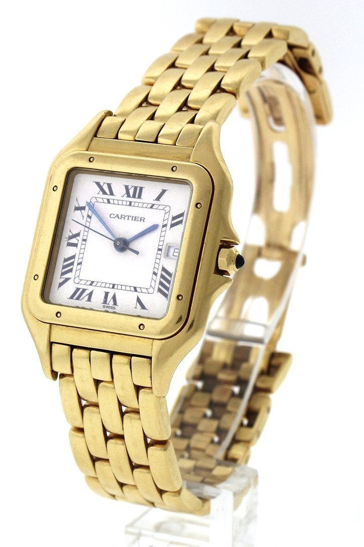 Cartier Panthère De Date Xl 18-Karat Yellow Gold Diamond Watch W25014B9 Pre-Owned-Watches