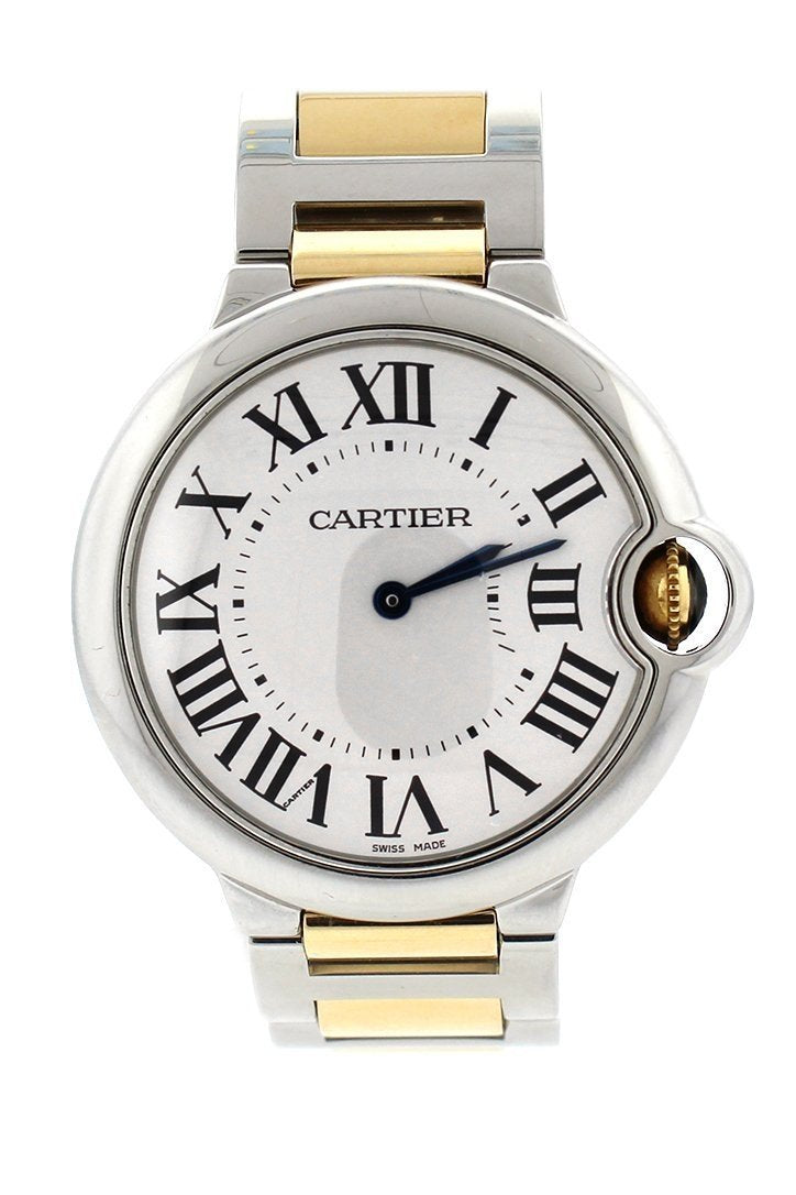 Cartier Ballon Bleu 36Mm Steel Yellow Gold Ladies Watch W69008Z3 Silver / None Pre-Owned-Watches