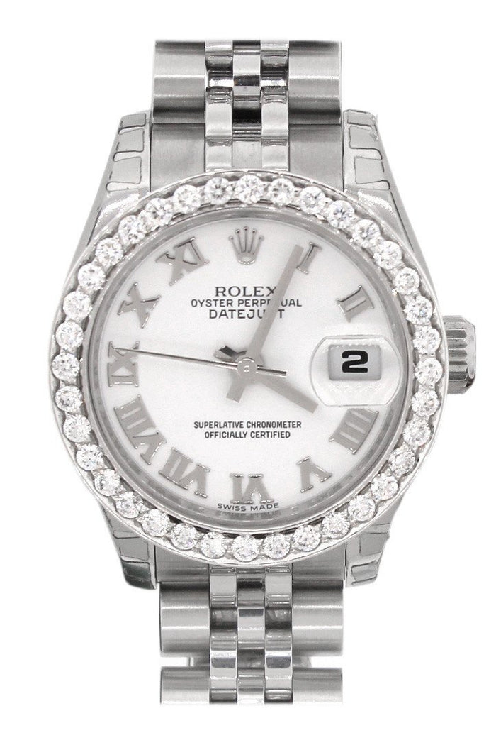 Rolex Datejust 26 White Roman Dial Custom Diamond Bezel Ladies Watch 179160