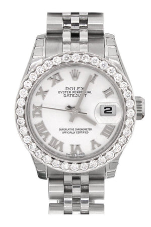 Rolex Datejust 26 White Roman Dial Custom Diamond Bezel Ladies Watch 179160 / None Custom-Bezel