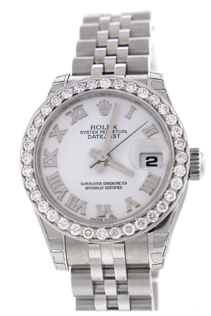 Rolex Datejust 26 White Roman Dial Custom Diamond Bezel Ladies Watch 179160 Custom-Bezel