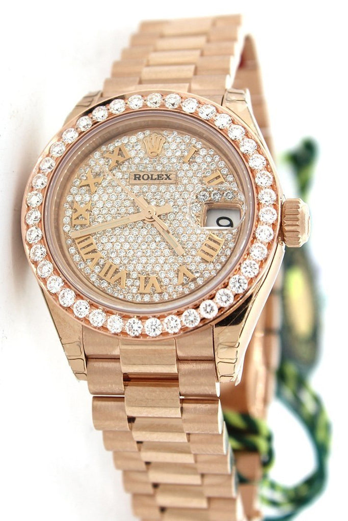 Rolex Lady Datejust 28 Custom Diamond Dial Bezel Rose Gold Watch 279175