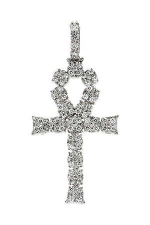 Diamond Ankh Cross Pendent 2.10Ct 14K Gold White / None
