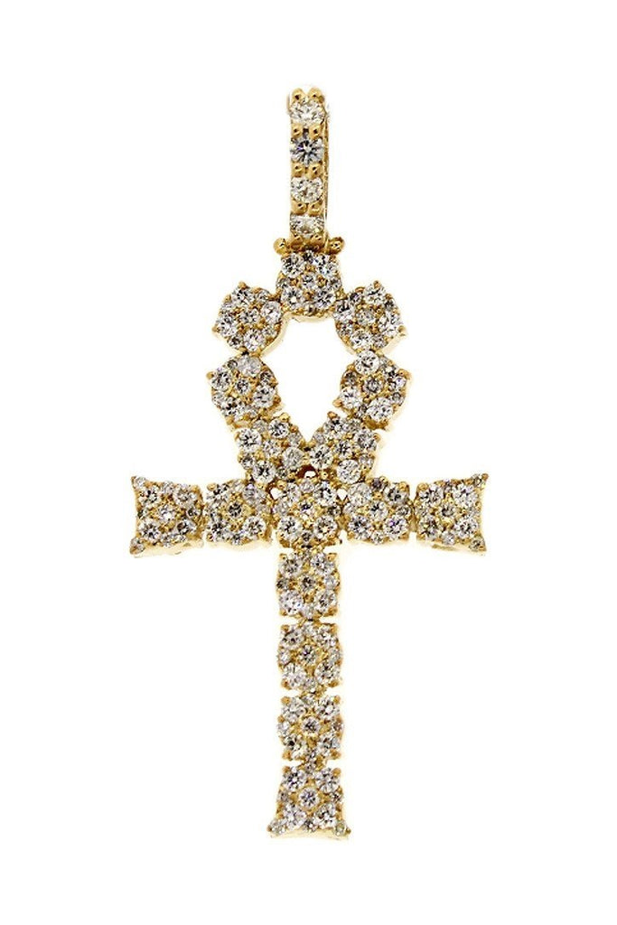 Diamond Ankh Cross Pendent 2.10Ct 14K Gold Yellow / None