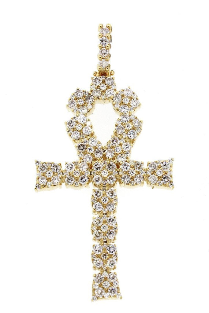 Diamond Ankh Cross Pendent 7.60Ct 14K Gold