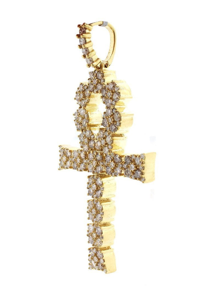 Diamond Ankh Cross Pendent 2.10Ct 14K Gold