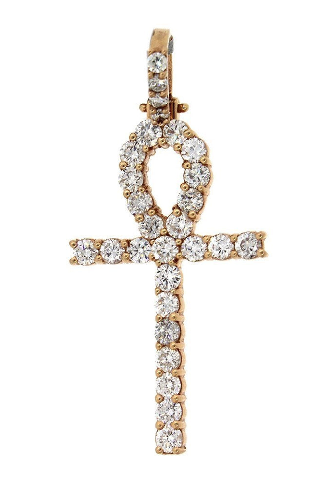 Diamond Ankh Cross Pendent 3.70ct 14K Gold