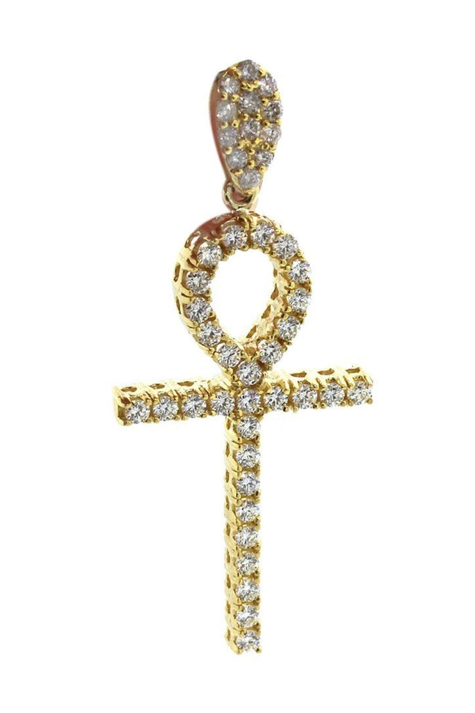 Diamond Ankh Cross Pendent 3.00ct 14K Gold