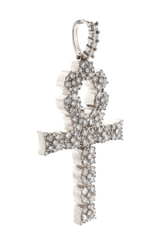 Diamond Ankh Cross Pendent 7.60Ct 14K Gold White / None