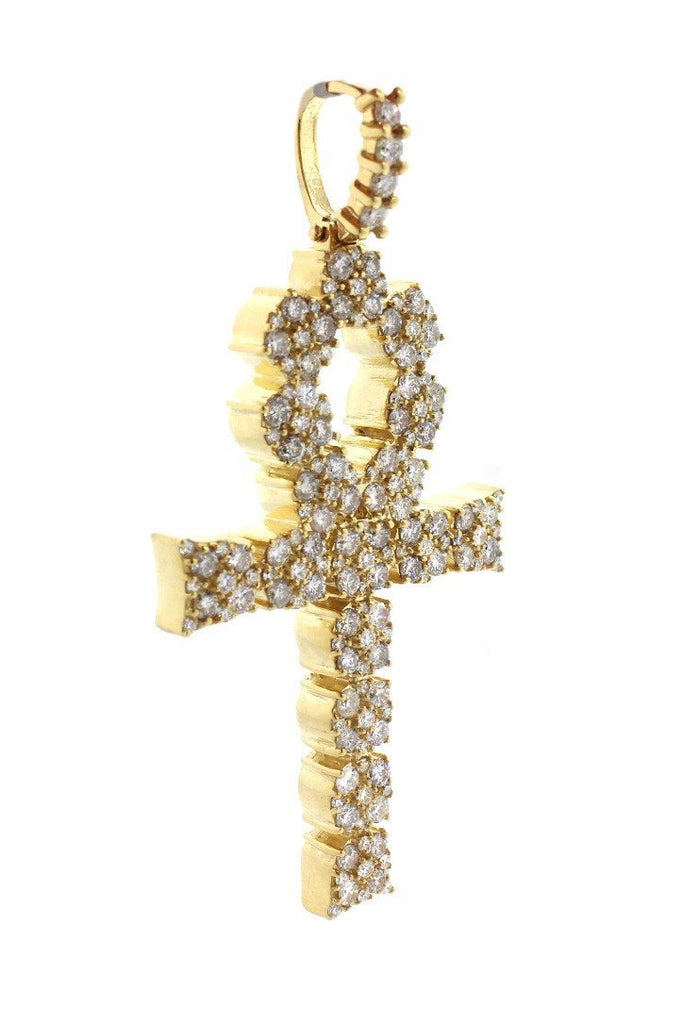 Diamond Ankh Cross Pendent 7.60Ct 14K Gold Yellow / None