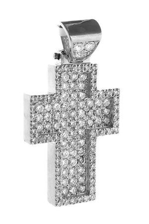 Diamond Cross Pendent 2.40Ct 14K Gold White / None