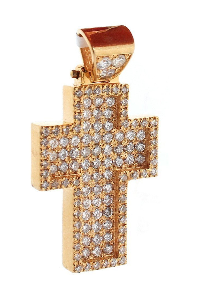 Diamond Cross Pendent 2.40Ct 14K Gold Rose / None