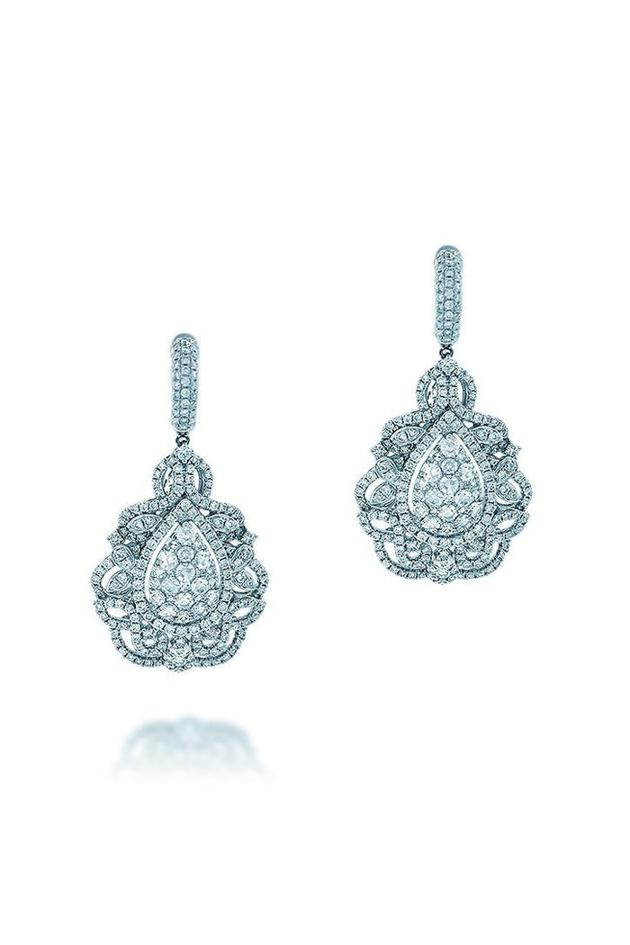 18K White Gold VS Pave Diamond 4.89CT Earrings Fine Jewelry