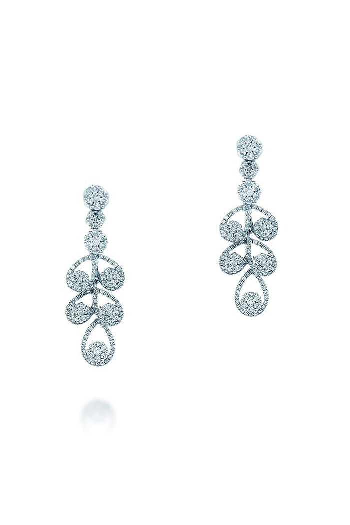 18K White Gold VS Pave Diamond 2.10CT Earrings Jewelry | WatchGuyNYC