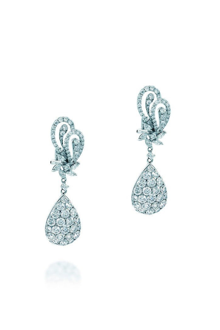 18K White Gold VS Pave Diamond 5.99CT Earrings Fine Jewelry