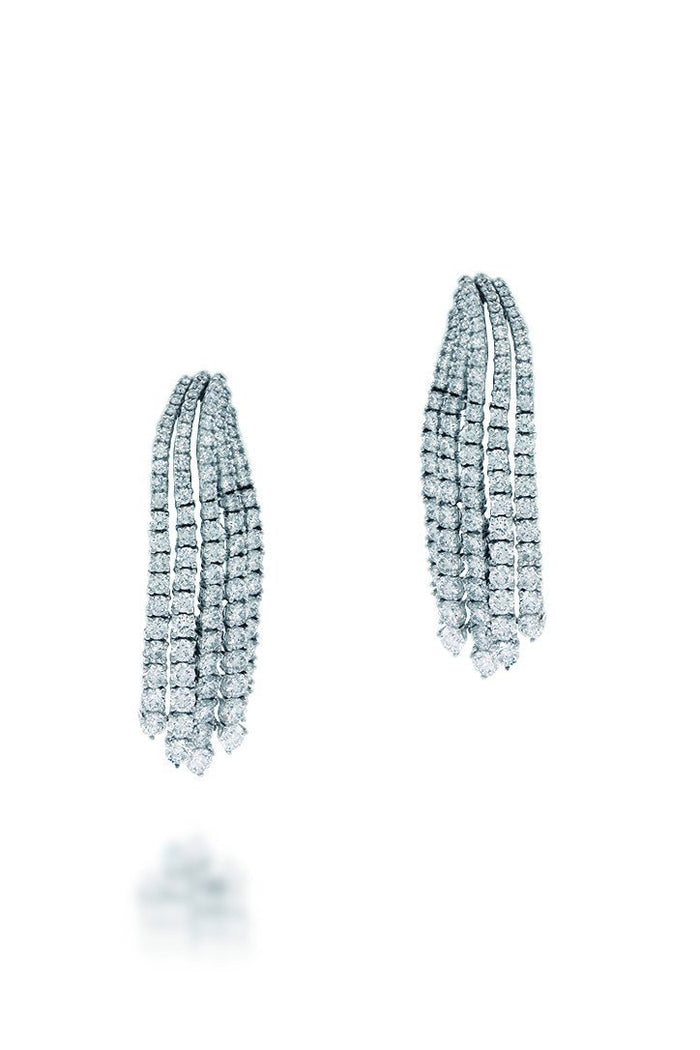 18K White Gold VS Pave Diamond 5.86CT Earrings Fine Jewelry