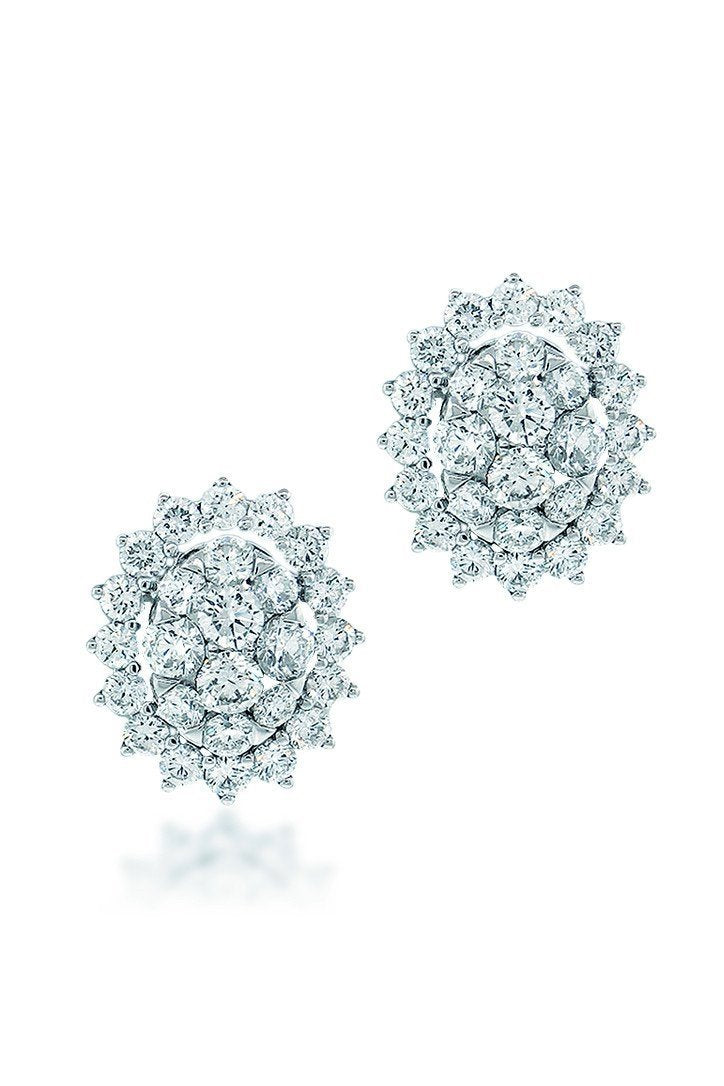 18K White Gold Vs Pave Diamond 4.24Ct Earrings Fine Jewelry