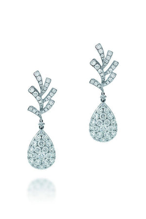 18K White Gold Vs Pave Diamond 5.35Ct Earrings Fine Jewelry