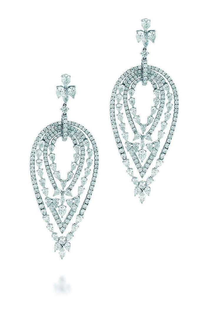 18K White Gold VS Pave Diamond 19.61CT Earrings Fine Jewelry