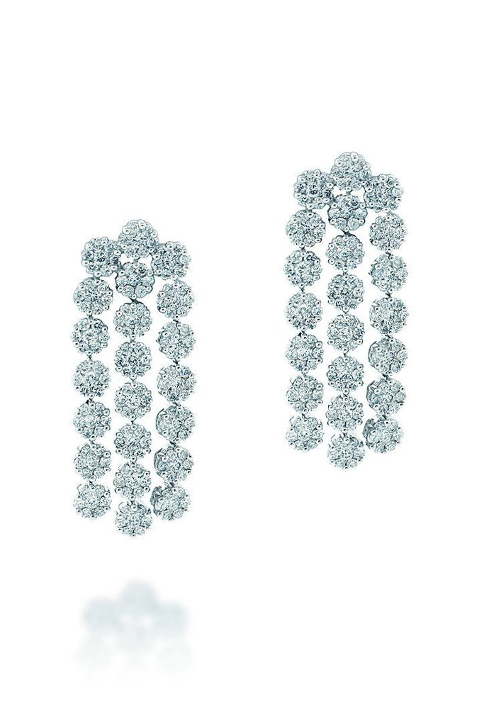 18K White Gold Vs Pave Diamond 4.08Ct Earrings Fine Jewelry
