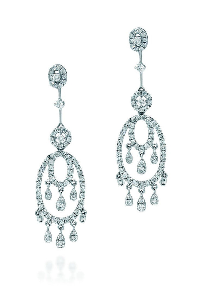 18K White Gold Vs Pave Diamond 2.68Ct Earrings Fine Jewelry