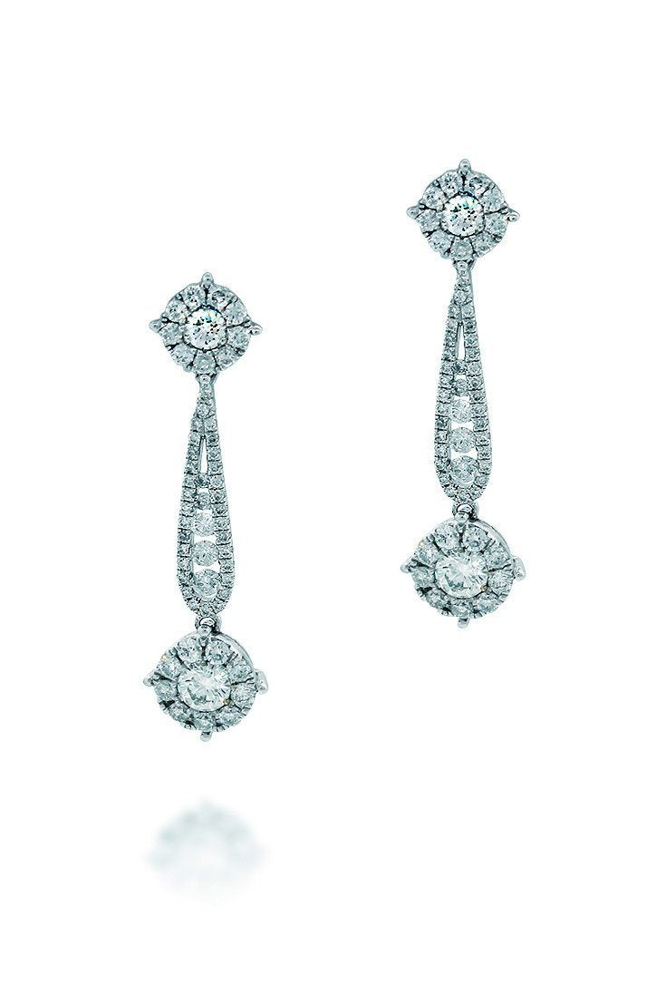 18K White Gold Vs Pave Diamond 1.67Ct Earrings Fine Jewelry