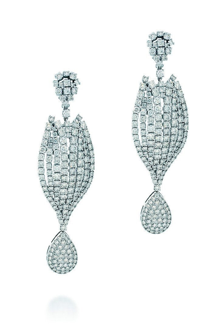 18K White Gold Vs Pave Diamond 14.26Ct Earrings Fine Jewelry