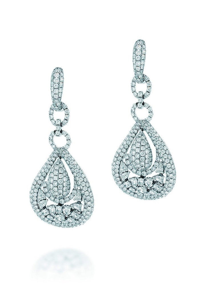 18K White Gold VS Pave Diamond 7.00CT Earrings Fine Jewelry