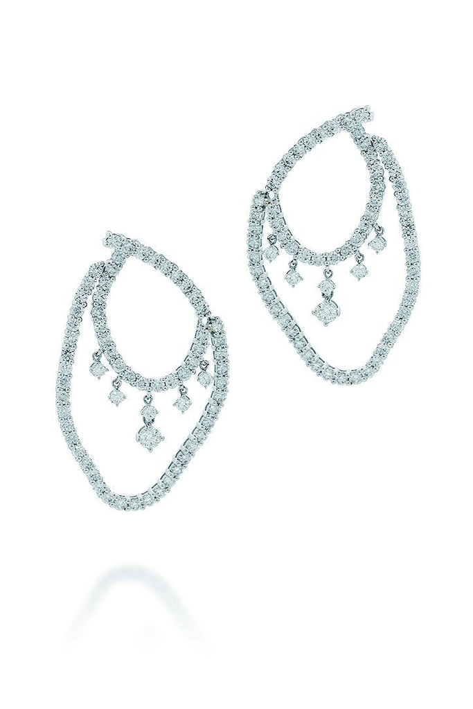 18K White Gold Vs Pave Diamond 4.92Ct Earrings Fine Jewelry