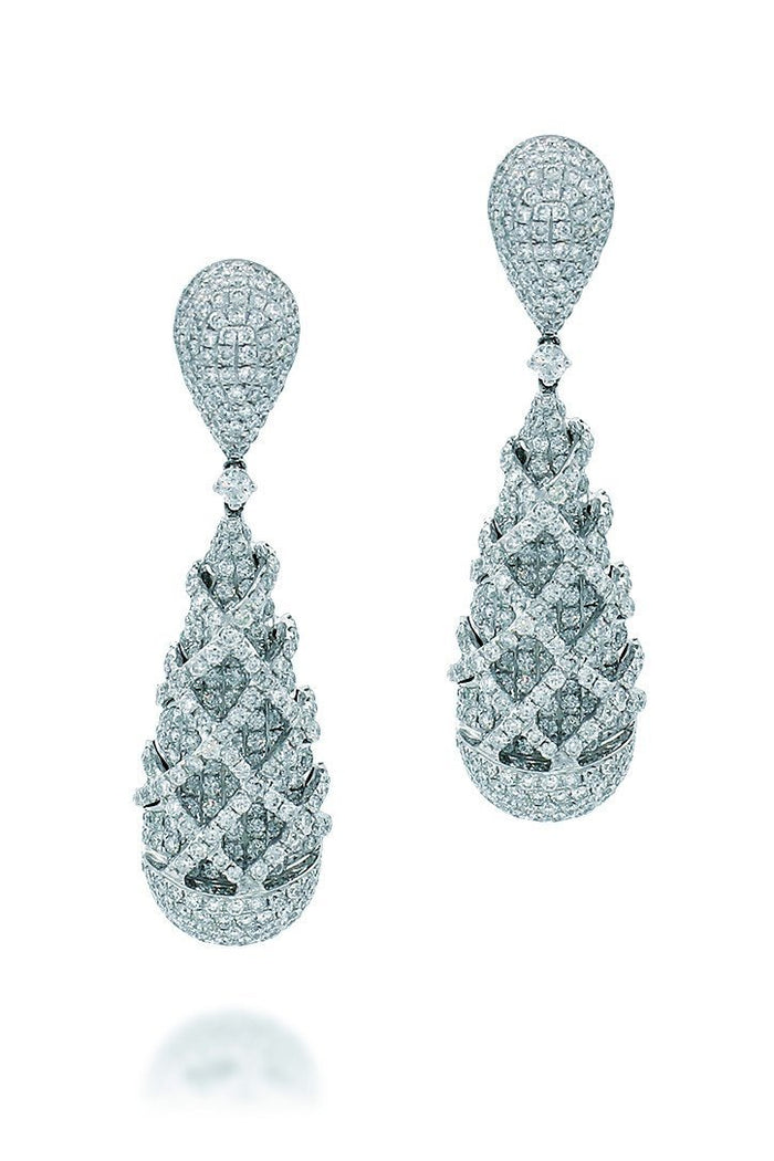 18K White Gold VS Pave Diamond 7.42CT Earrings Fine Jewelry