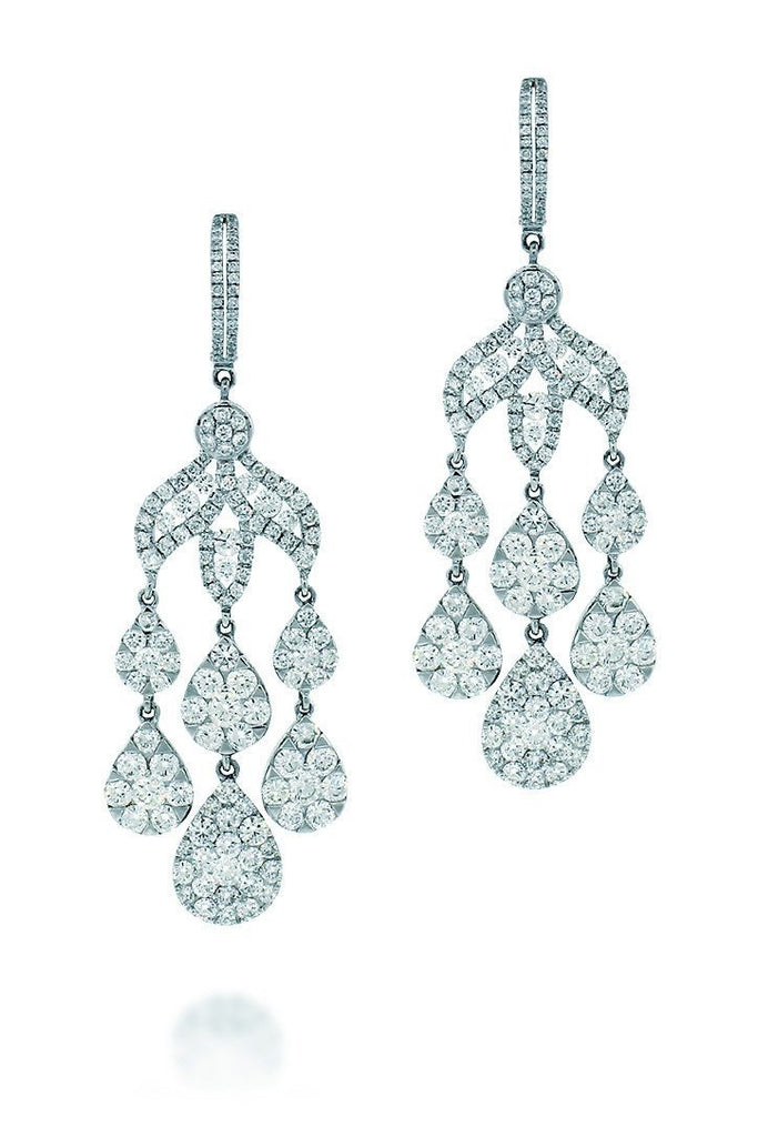 18K White Gold Vs Pave Diamond 9.72Ct Earrings Fine Jewelry