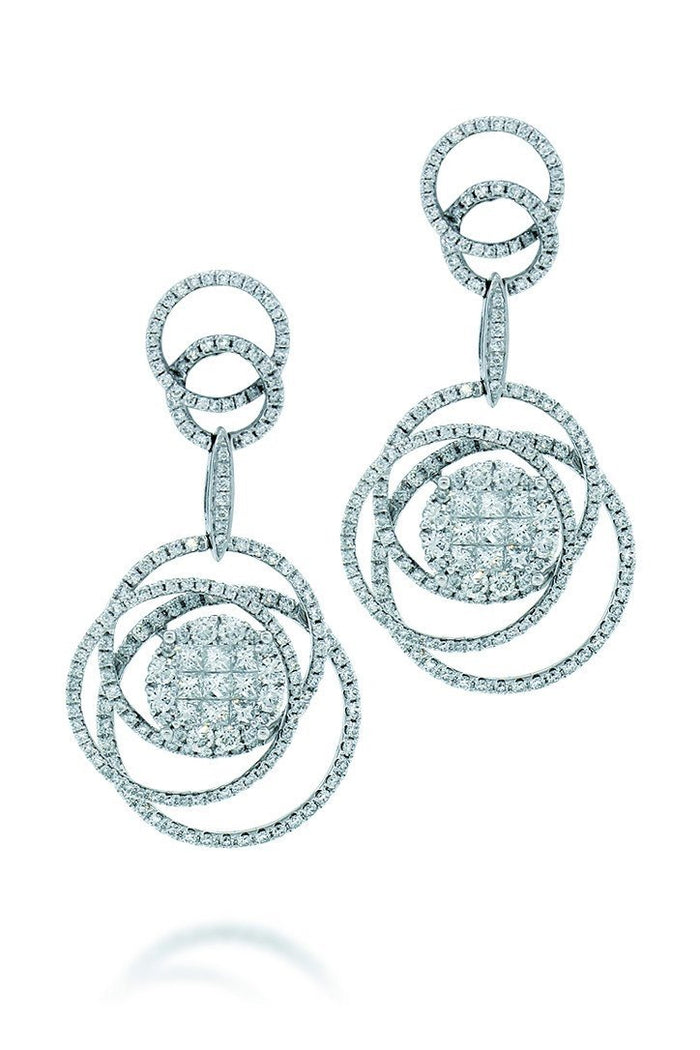 18K White Gold VS Pave Diamond 4.47CT Earrings Fine Jewelry