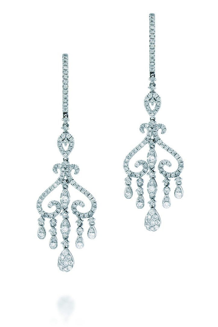 18K White Gold VS Pave Diamond CT Earrings Fine Jewelry
