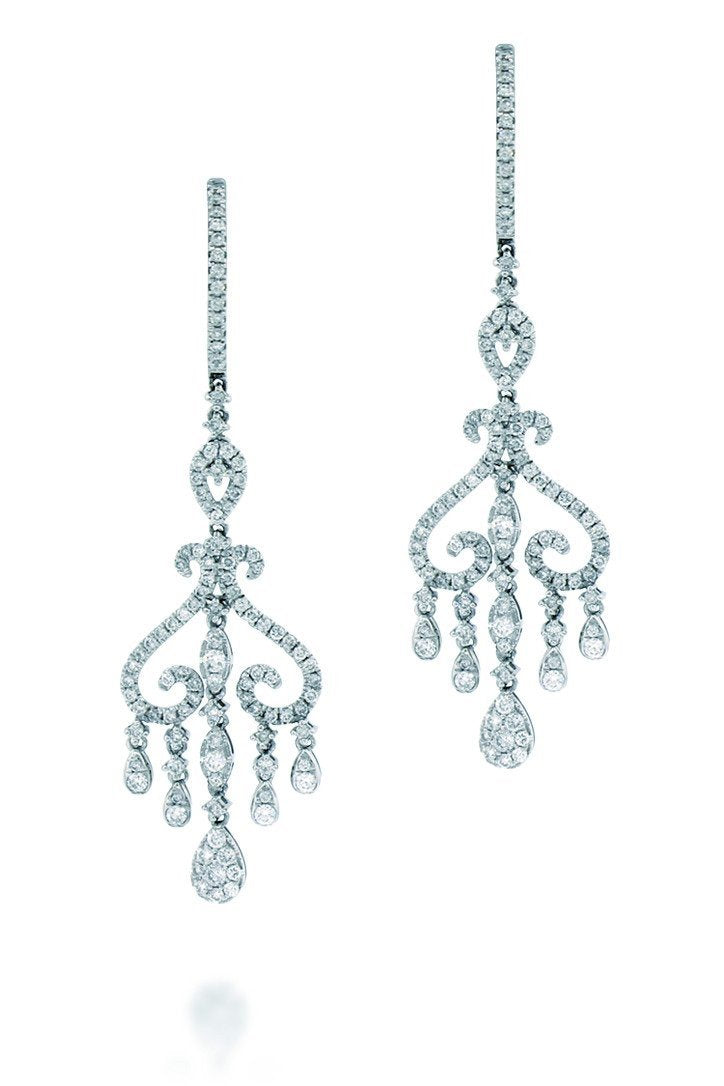18K White Gold VS Pave Diamond 13.00CT Earrings Fine Jewelry