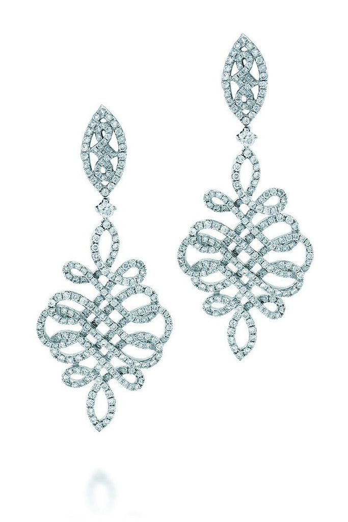 18K White Gold Vs Pave Diamond3.23Ct Earrings Fine Jewelry