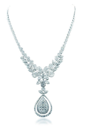 18K White Gold Vs Diamond 12.18Ct Necklace Jewelry