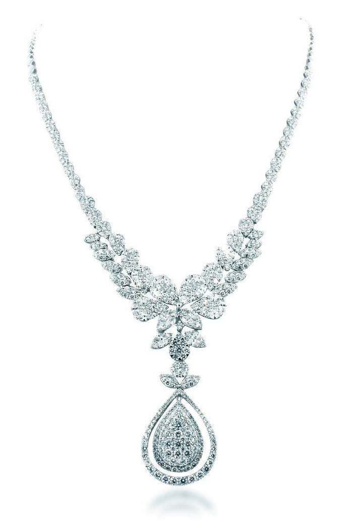 18K White Gold VS Diamond 12CT Necklace New York Jewelry| WatchGuyNYC