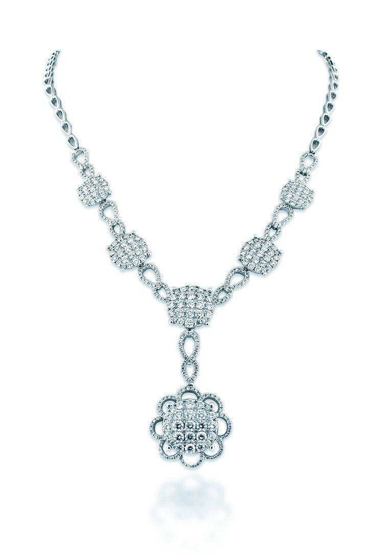 18K White Gold Vs Diamond 7.02Ct Necklace Jewelry