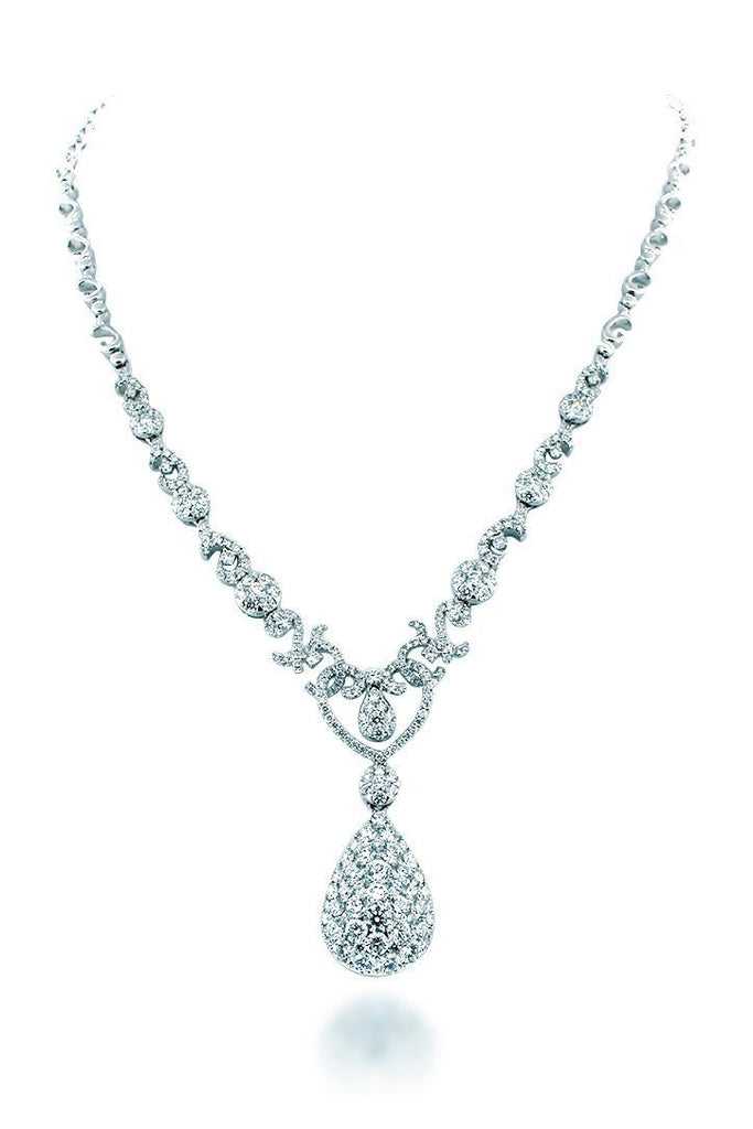 18K White Gold Vs Diamond 6.9Ct Necklace Jewelry