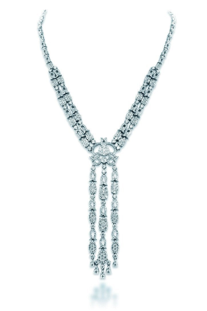 18K White Gold Vs Diamond 6.09Ct Necklace Jewelry