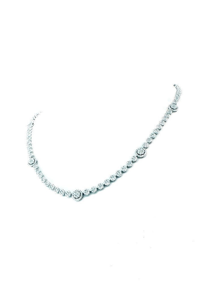 18K White Gold VS Diamond 10.82CT Pave Tennis Necklace Jewelry