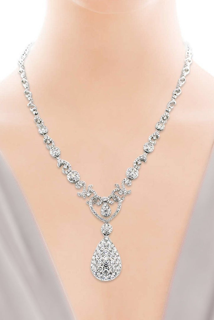 18K White Gold VS Diamond 6.9CT Necklace New York Jewelry| WatchGuyNYC