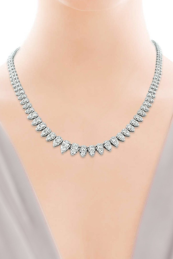 18K White Gold Vs Diamond 9.84Ct Tennis Necklace Jewelry