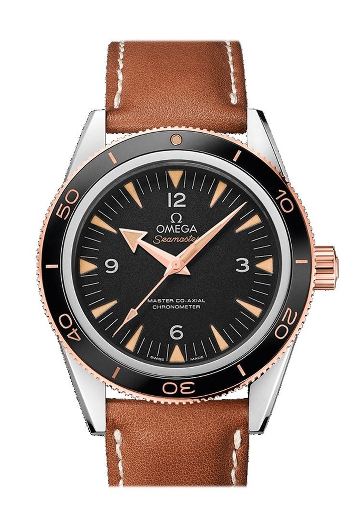 Omega Seamaster 300 Master Co-axial 41mm Automatic Black Dial 18kt Rose Gold Leather Men's Watch 233.22.41.21.01.002