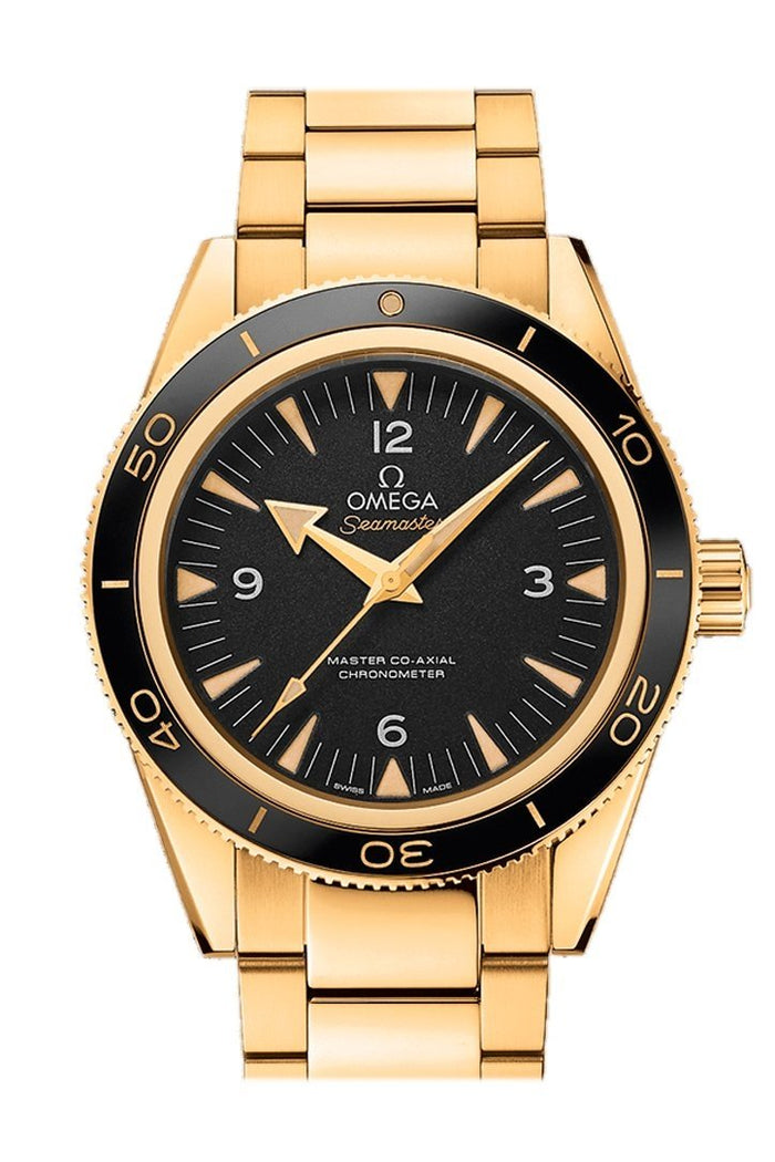 Omega Seamaster 300 Master Co-axial 41mm Automatic Black Dial 18kt Yellow Gold Men's Watch 233.60.41.21.01.002