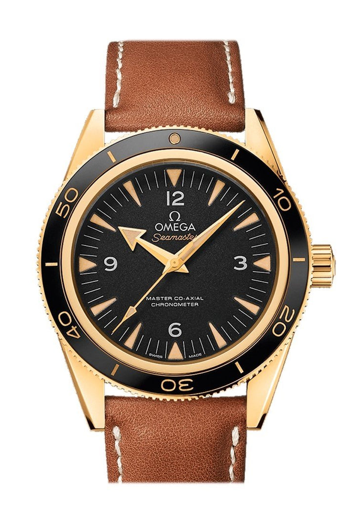 Omega Seamaster 300 Master Co-axial 41mm Automatic Black Dial 18kt Yellow Gold Men's Watch 233.62.41.21.01.001