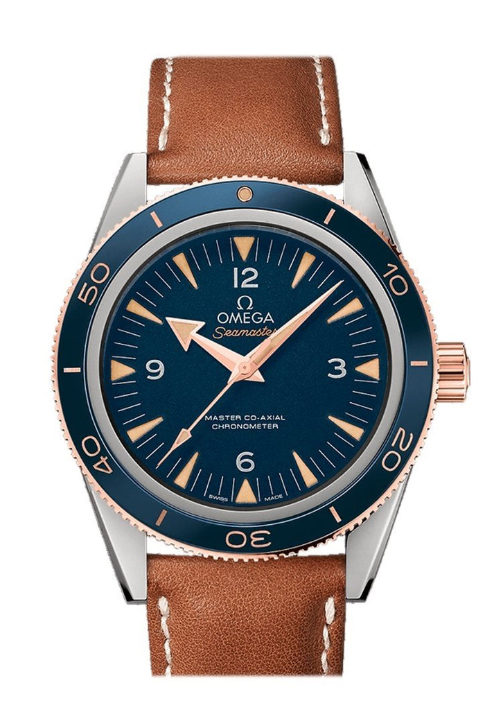 Omega Seamaster 300 Master Co-axial 41mm Automatic Blue Dial 18kt Rose Gold Men's Watch 233.62.41.21.03.001