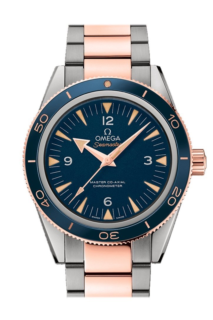 Omega Seamaster 300 Master Co Axial 41mm Automatic Blue Dial Titanium 18k Rose Gold Men S Watch 233 60 41 21 03 001 Watchguynyc