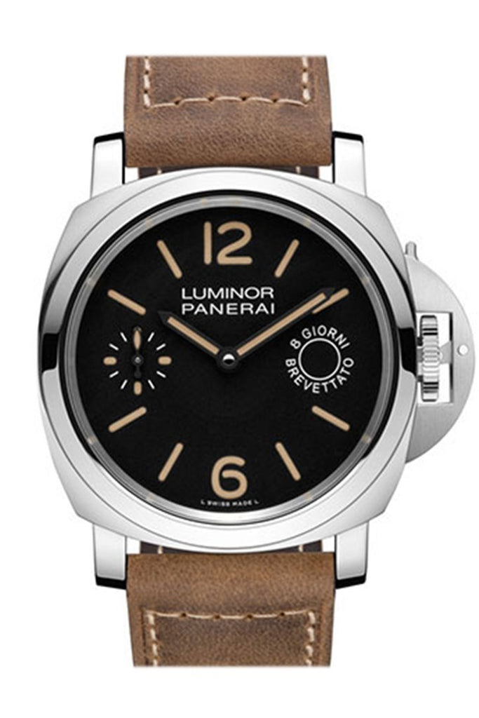 Panerai Luminor Marina Black Dial Tan Leather Mens Watch Pam00590